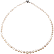 Gorgeous Strand Antique Cultured Pearls With Mine Cut Diamonds Clasp