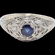 18K Edwardian Sapphire & Diamonds Filigree Ring