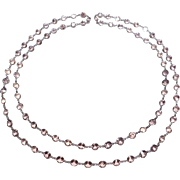 Art Deco Silver Set Open Backed 10mm Crystal Necklace 56 Inches