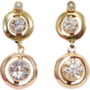 Elegant Antique Paste & Seed Pearl Lever Back Drop Earrings