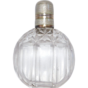 Art Deco 935 Silver Cut Crystal Enamel Topped Perfume Bottle