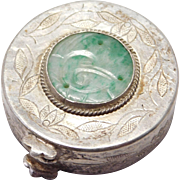 Old Carved Jade & Silver Chinese Pill Box