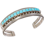 Sterling Zuni Silver Signed Sleeping Beauty Turquoise Cuff Bracelet
