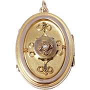14K Victorian Seed Pearl Etruscan Locket 1880