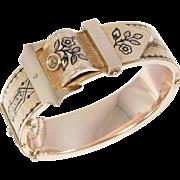 Wide Victorian Taille D'Epargne Enamel Buckle Bangle Bracelet