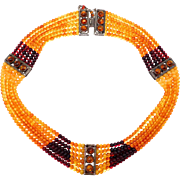 Unique Beautiful 6 Strand Natural Amber & Silver Necklace