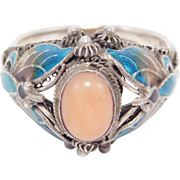 Chinese Silver Cloisonne Coral Butterfly Ring