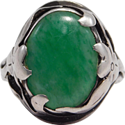 Beautiful Arts & Crafts Era Sterling & Jade Ring - Red Tag Sale Item