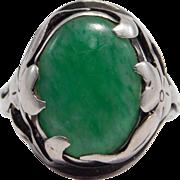 Beautiful Arts & Crafts Era Sterling & Jade Ring