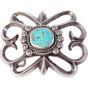 Old Silver Sandcast Turquoise Belt Buckle Heavy