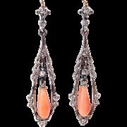 Silver Paste & Coral Edwardian Style Drop Earrings