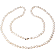 Estate 6.5 Mm Cultured Pearls 14K Clasp 28 Inches