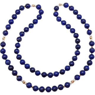 Estate Gem Lapis With 14K Beads 10Mm 30 Inches
