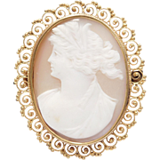 Etruscan Filigree 10K Victorian Carved Shell Cameo Brooch