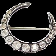 Antique Paste Silver Crescent Brooch Victorian