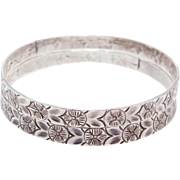 Matched Pair Sterling Art Deco Engraved Bangles Stackers