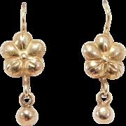 Elegant 14K Yellow Gold Floral Drop Earrings Antique