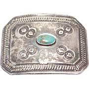 United Indian Traders Association Silver Turquoise Buckle Stampwork
