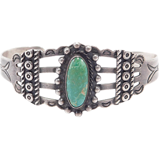 Harvey Era Indian Handcrafted Coin Silver Turquoise Cuff