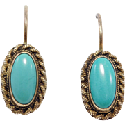 Vermeil Ornate Oval Turquoise Earrings