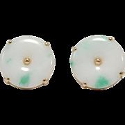 Estate 14K Jade Bi Disc Earrings Very Nice