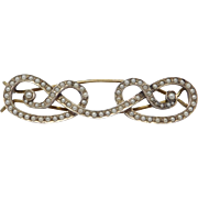 Very Rare Victorian Seed Pearl Sterling Barrette