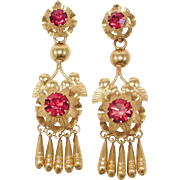 Antique Long Brass Earrings With Red Crystals
