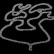 Long Victorian Gunmetal Watch Locket Chain With Swivel