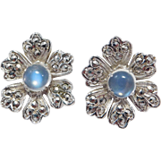 Art Deco Moonstone Marcasite Earrings Elegant