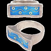 Modernist Enamel Wave Ring 24K & 950 Silver Cool