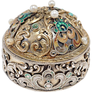 Gorgeous Hallmarked Austrian 800 Silver Turquoise & Pearl Trinket Box