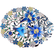 Beautiful Plique A Jour Enamel & Cloisonne Brooch Silver