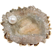 Modernist 14K Druzy Quartz Ring With Cultured Pearl