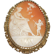 Gorgeous Oversize Carved Shell Cameo Brooch Cupids
