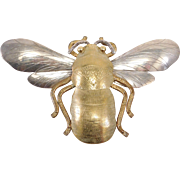 Mixed Metals Courtney Sterling Artisan Bee Brooch Pendant