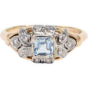 Elegant Art Deco 14K Aquamarine And Diamonds Ring