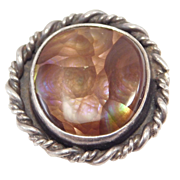 Artisan Sterling Fire Agate Ring Gorgeous Stone