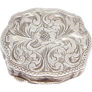Engraved 800 Silver Italian Ornate Pill Box