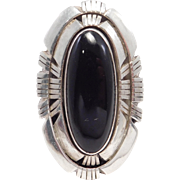 Sterling Large Southwest Black Onyx Ring