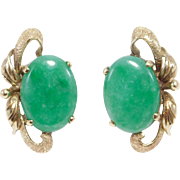 Estate 14K Natural Jade Earrings Post Backs