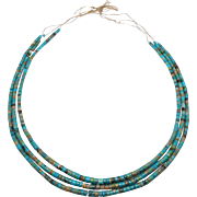 Amazing Triple Strand Turquoise Heishi Necklace Santo Domingo