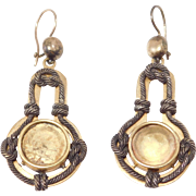 Ornate Victorian Pinchbeck Earrings Knot Design Dangling Circa 1880