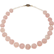 Carved Chinese Shou Symbol Rose Quartz Beads Freshwater Pearls