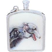 Exquisite Art Deco 935 Silver Enamel Russian Borzoi Dog Matchsafe Lighter