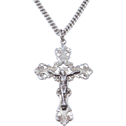 40'S Vintage Sterling Rosary Cross Heavy Curb Link Chain