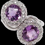 Antique Mine Cut Diamonds & Amethyst Platinum Ring