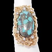 14K Sculptural Kingman Turquoise & Diamond Custom Estate Modernist Ring