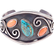 Hand Forged Silver Turquoise & Coral Cuff Bracelet