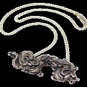 Old Ornate Silver Dragon Pendant Japanese Design