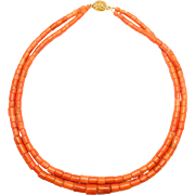 Antique Double Strand Of Barrel Coral Beads Necklace